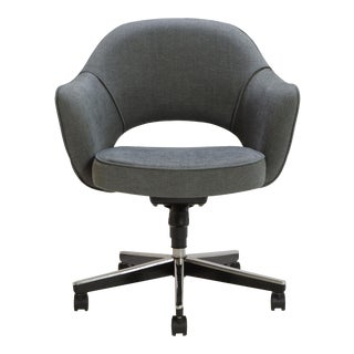 Customizable Saarinen Executive Arm Chair in Textured Charcoal Weave, Swivel Base