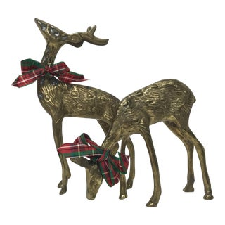 Brass Reindeer Figures - a Pair