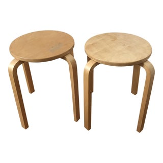 Mid-Century Stackable Wooden Side Tables - A Pair
