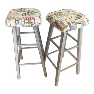 PKaufman Upholstered Refinished Stools -- A Pair