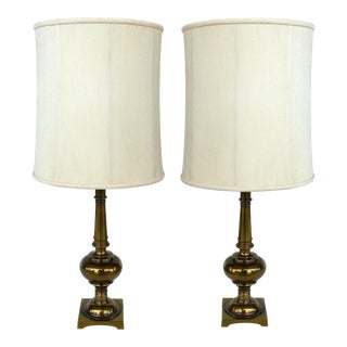 Stiffel Brass Table Lamps with Original Stiffel Shades - a Pair