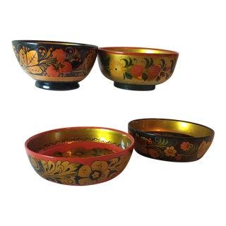 Vintage Russian Lacquerware Bowls - Set of 4