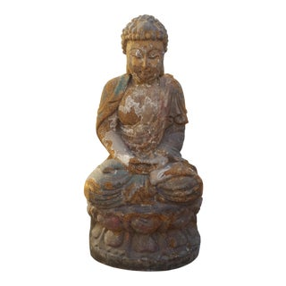 Vintage Distressed Wood Quan Yin Statue