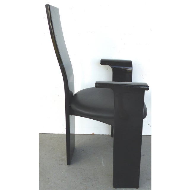 Lacquered Chairs with Painted Backs - Set of 4 - Image 4 of 6