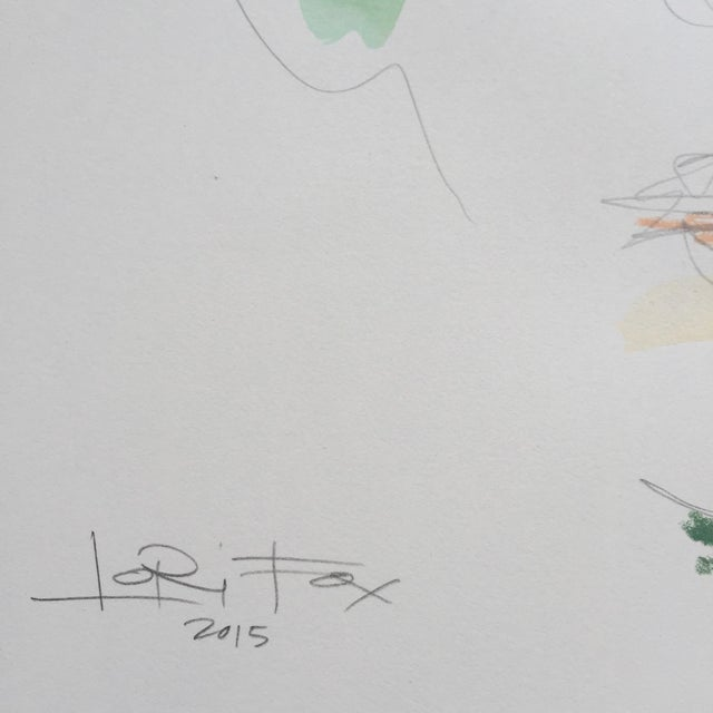 Lori Fox Watercolor & Oil Pastel Painting - Image 3 of 5