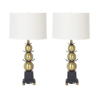 Pair of Mid-Century Stacked Ball Table Lamps