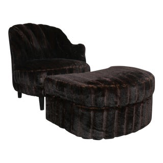 Furry Lounge Chair with Ottoman