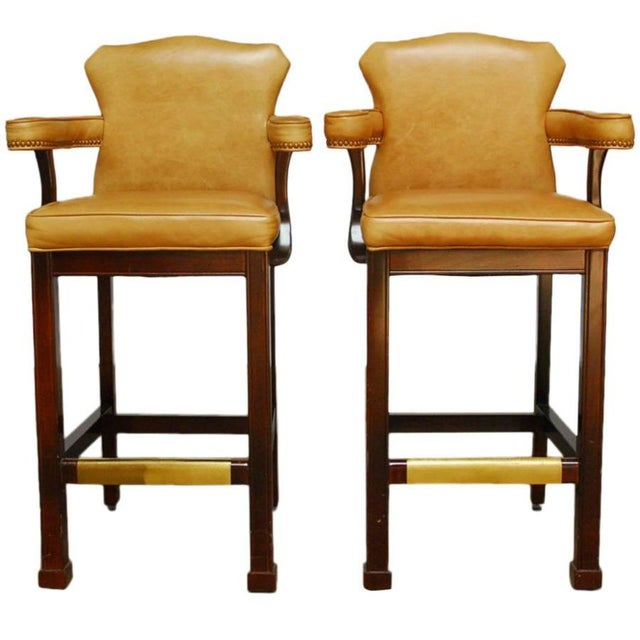 French Leather Moustache Bar Stools - Pair - Image 1 of 7