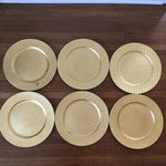 Image of Gold Woven Plastic Charger Plates - Set of 6