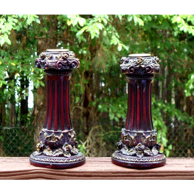 Neoclassical Italian French Gold Red Candlesticks - Image 9 of 10