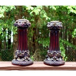 Image of Neoclassical Italian French Gold Red Candlesticks