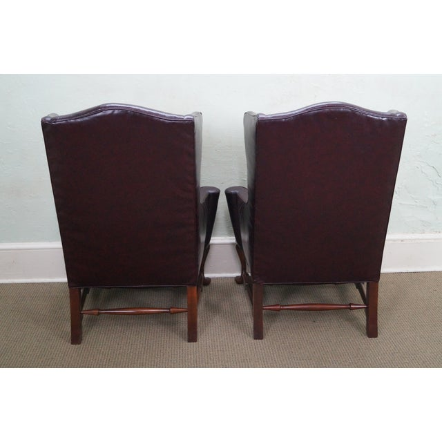 Oxblood Leather Wing Chairs - A Pair - Image 4 of 10