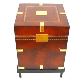Maitland-Smith Tooled Leather Trunk on Stand