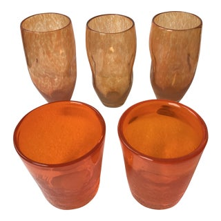 Handblown Orange Glasses - Set of 5