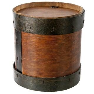 Vintage Wood & Metal Drum-Shaped Storage Box