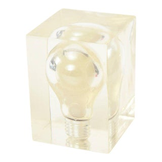 Pierre Giraudon French Pop Art Lucite Light Bulb Sculpture/ Paperweight