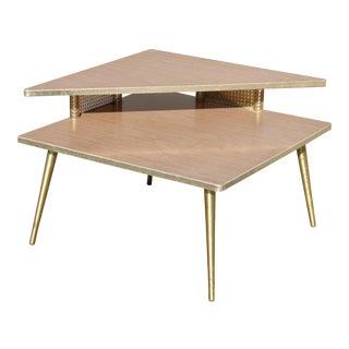 Retro Corner Table With Brass Peg Legs