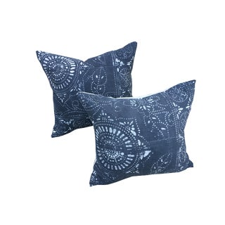 Antique Black Batik Pillows - A Pair