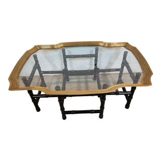 Bamboo Brass & Glass Asian Coffee Table
