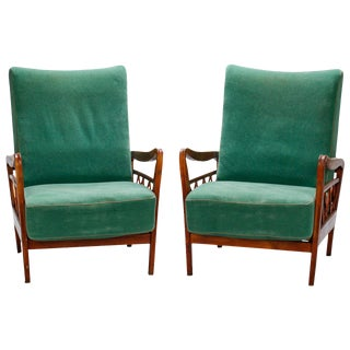 Pair Italian Mid Century Paolo Buffa Style Open Work Lounge Chairs