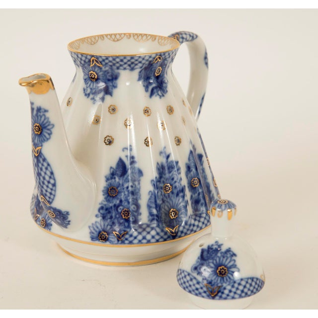 Lomonosov Cobalt Blue & Gold Porcelain Teapot - Image 9 of 11