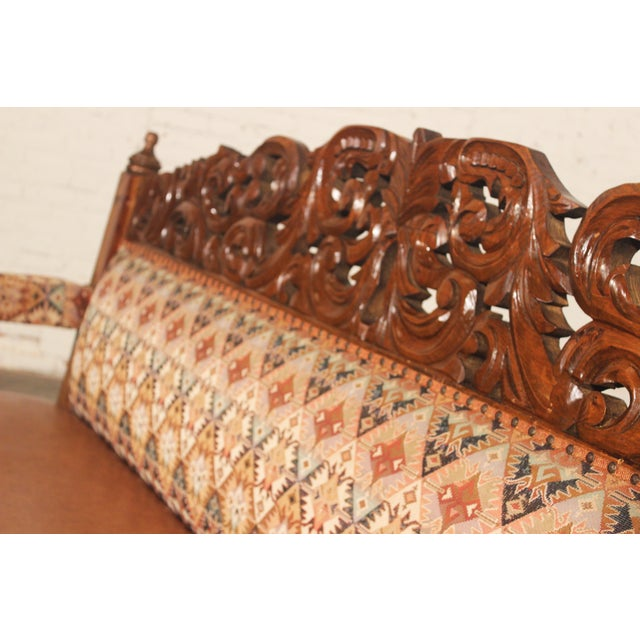 Spanish Carved Pine Bench - Image 5 of 10