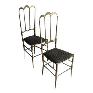 Chiavari Mid-Century Brass Dining Chairs - A Pair