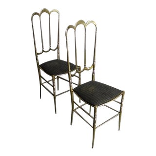 Chiavari Mid-Century Brass Dining Chairs - A Pair