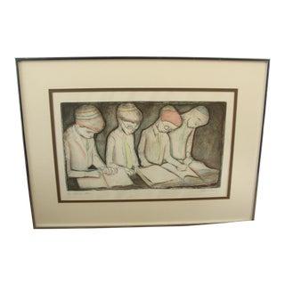 "Vintage Irving Amen ""Students"" Woodblock Print"
