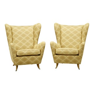 Paolo Buffa Style Mid-Century Italian Wing Back Chairs - a Pair