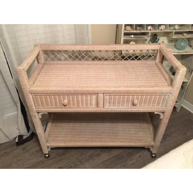 Henry Link Wicker Rolling Console Cart - Image 2 of 10