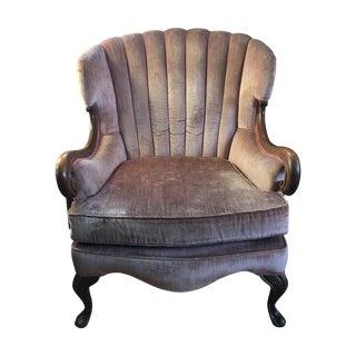 Antique Pink Velvet Scallop Back Chair