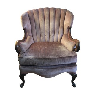 Antique Pink Velvet Scallop Back Chair