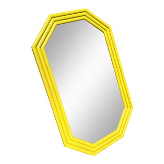 Vintage Yellow Faux Bamboo Mirror