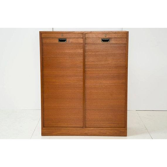 Danish Modern File Storage With 2 Tambour Doors - Image 3 of 6