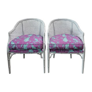 Vintage Tropical Rattan Barrel Back Armchairs