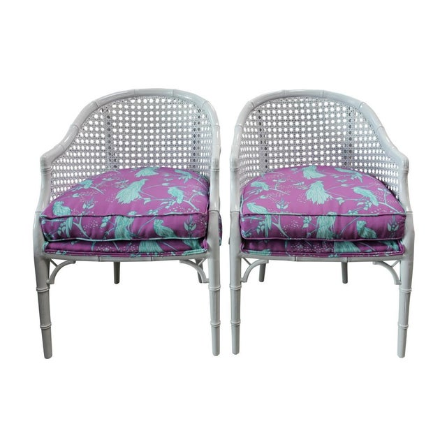 Image of Vintage Tropical Rattan Barrel Back Armchairs