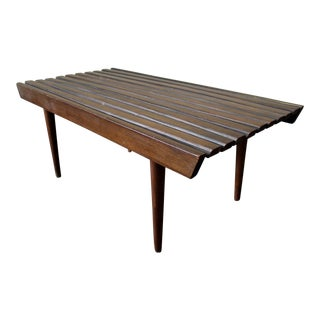 Mid-Century Danish Modern Walnut Slat Bench Coffee Table