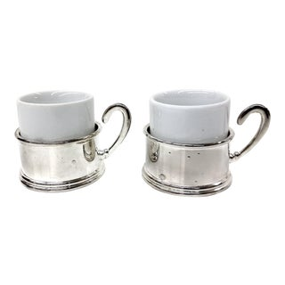 Silver & Porcelain Demitasse Cup Set - 4 Pieces
