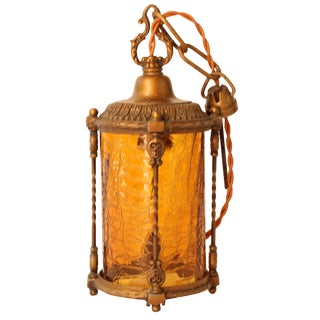 Amber Crackle Glass Pendant Lantern