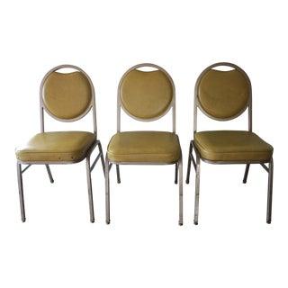 Brody Mustard Vinyl & Steel Chairs - Set of 3