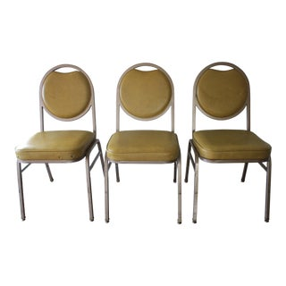 Brody Mustard Vinyl & Steel Chairs - Set of 3