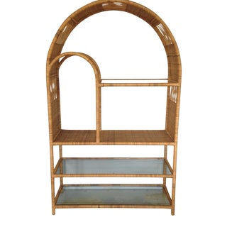 Mid-Century Rattan & Glass Etagere / Bookcase