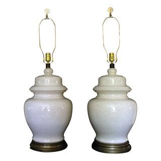 Vintage Crackle Glaze Ginger Jar Lamps - A Pair