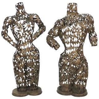 Brutalist Metal Torso Sculptures - A Pair