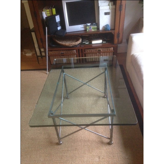 Image of Glass and Brushed Steel Cocktail Table