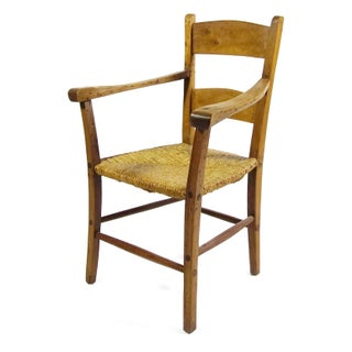 Rustic Armchair With Rush Seat