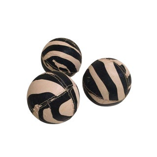 Zebra Printed Leather Balls - Set of 3