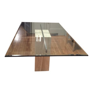 Mid-Century Travertine Dining Table