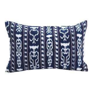 Guatemalan Striped Indigo Ikat Pillow Cover